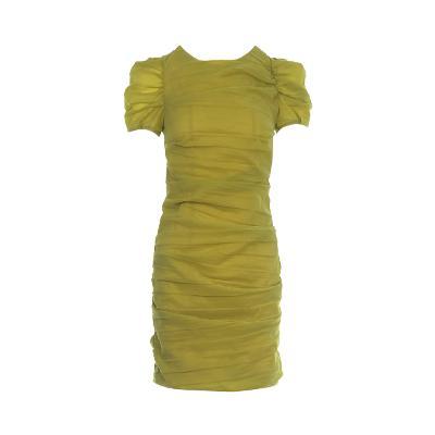shirring detail mini dress mustard